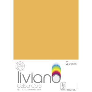 Liviano A3 Card 180gsm Old Gold 5 Pack