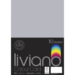 Liviano A4 Colour Card 300gsm Grey 10 Pack