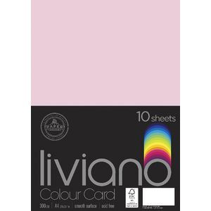 Liviano A4 Colour Card 300gsm Light Pink 10 Pack