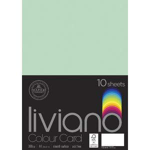 Liviano A4 Card 300gsm Mint 10 Pack