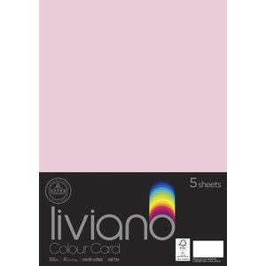Liviano A3 Colour Card 300gsm Light Pink 5 Pack