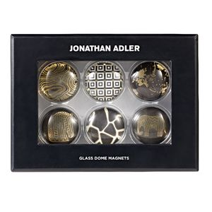 Jonathan Adler Glass Dome Magnets Black 6 Pack