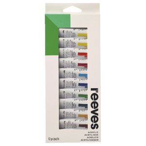 Reeves Acrylic Paint 10ml Assorted Colours 12 Pack