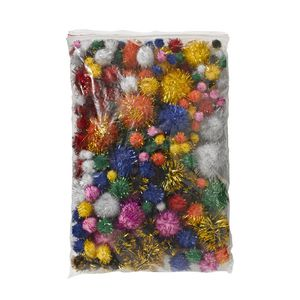 Jasart Pom Poms Glitter Assorted 200 Pack