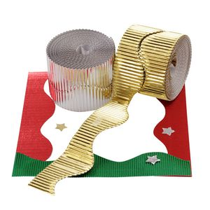 Jasart Corrugated Foil Border Roll 10m Assorted 4 Pack