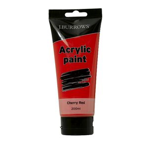 J.Burrows Acrylic Paint 200ml Cherry Red