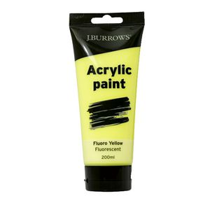 J.Burrows Acrylic Paint 200mL Fluoro Yellow