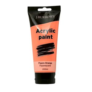 J.Burrows Acrylic Paint 200mL Fluoro Orange