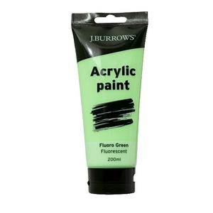 J.Burrows Acrylic Paint 200mL Fluoro Green