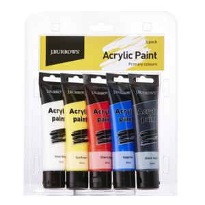 J.Burrows Primary Colour Acrylic Paint 60mL 5 Pack