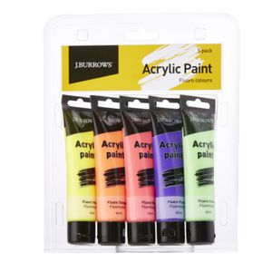 J.Burrows Fluoro Colour Acrylic Paint 60mL 5 Pack