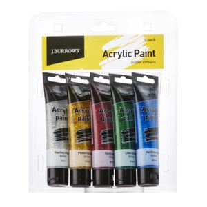 J.Burrows Glitter Colour Acrylic Paint 60mL 5 Pack
