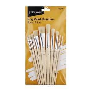 J.Burrows Hog Paint Brushes Round and Flat 10 Pack
