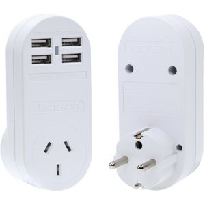 Jackson Outbound Europe Travel Adaptor with 4 USB Ports
