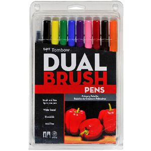 Tombow Dual Tip Brush Pens Primary 10 Pack