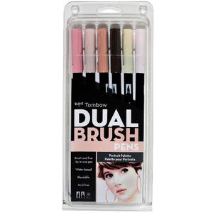 Tombow Dual Tip Brush Pens Portrait 6 Pack
