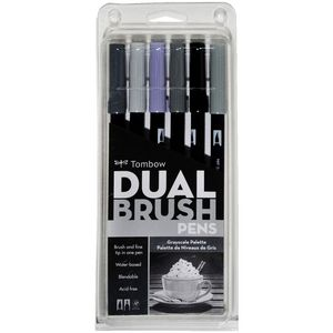Tombow Dual Tip Brush Pens Greyscale 6 Pack