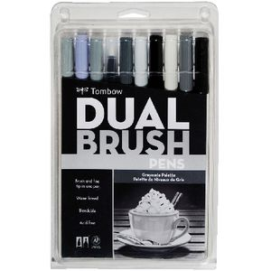 Tombow Dual Tip Brush Pens Greyscale 10 Pack