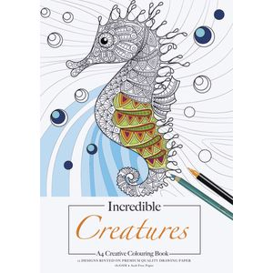 Jasart A4 Colouring Pad Incredible Creatures