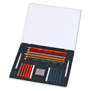 Conte Sketching Metal Box Set 21 Piece Assorted