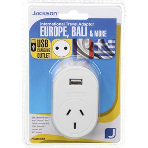 Jackson Outbound Europe Travel Adaptor with USB Port
