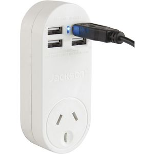 Jackson 4 USB Port Power Adaptor with Surge Protection