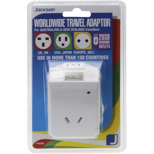 Jackson Universal Multi-Voltage Twin USB Travel Adaptor