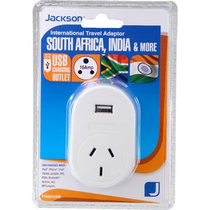 Jackson Outbound South Africa & India Travel Adaptor with USB