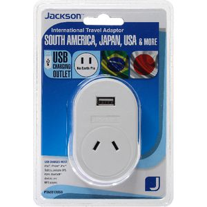Jackson Outbound USA 2 Pin Travel Adaptor with USB