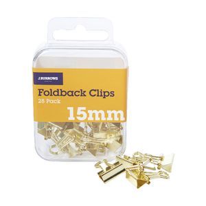 J.Burrows 15mm Foldback Clips Gold 28 Pack