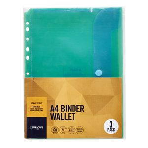 J.Burrows Binder Document Wallet A4 Assorted 3 Pack