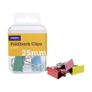 J.Burrows 25mm Foldback Clips Assorted 6 Pack