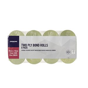 J.Burrows 2 Ply Bond Rolls 76 x 76mm 8 Pack