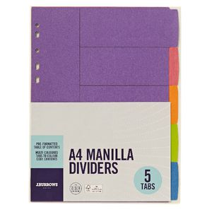 J.Burrows Manilla Dividers A4 Summer Colours 5 Tab