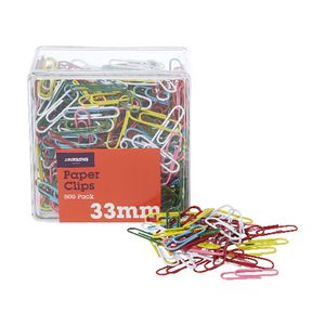 J.Burrows 33mm Paper Clips Assorted 500 Pack
