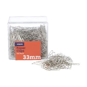 J.Burrows 33mm Paper Clips Silver 700 Pack