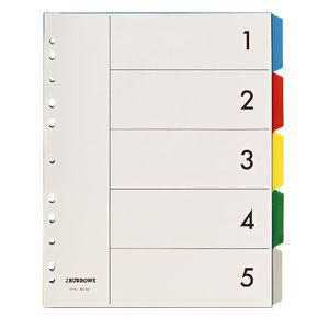 J.Burrows A4 5 Tab Dividers Polypropylene Extra Wide