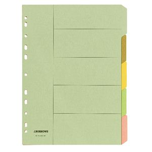 J.Burrows A4 5 Tab Dividers Pastel