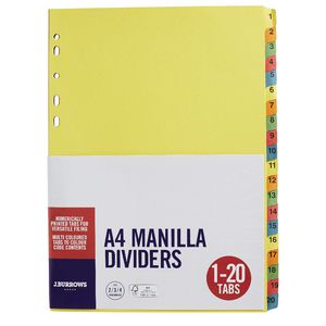 J.Burrows Manila Dividers A4 1-20 Tab Assorted Colours