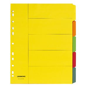 J.Burrows A4 5 Tab Dividers Extra Wide Bright Colours