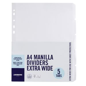 J.Burrows A4 5 Tab Dividers Extra Wide Manila