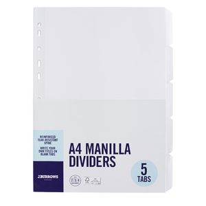 J.Burrows A4 5 Tab Dividers FSC White