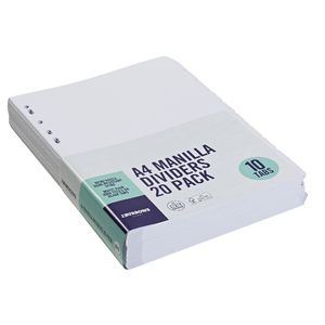 J.Burrows A4 10 Tab Dividers White 20 Pack