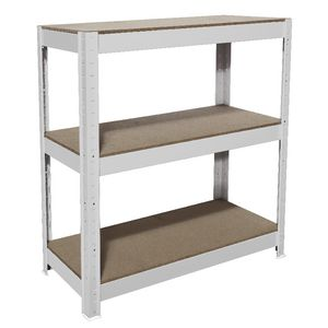Cobalt 3 Shelf Metal Shelving Unit White