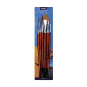 J.Burrows Paintbrush Set Assorted 6 Piece Long Liner