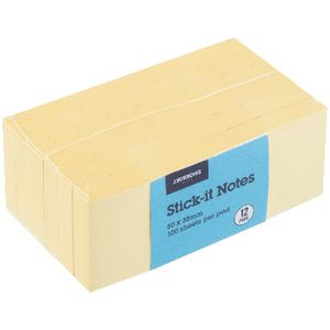 J.Burrows Stick-it Notes 38 x 50mm 12 Pack