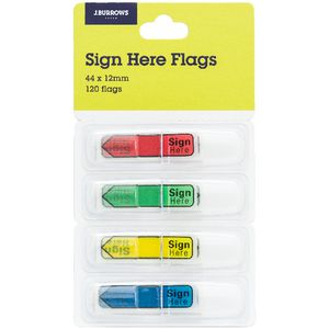 J.Burrows Mini Sign Here Flags 12 x 44mm 4 Pack