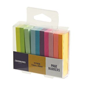 J.Burrows Page Markers 13 x 45mm 10 Pack