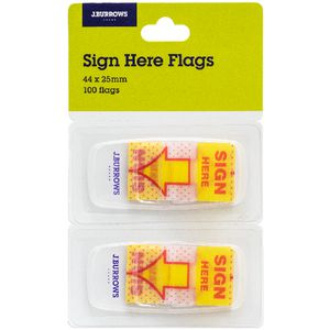 J.Burrows Sign Here Flags 25 x 44mm 2 Pack