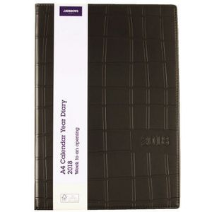 J.Burrows A4 PVC WTV Diary Tab Black